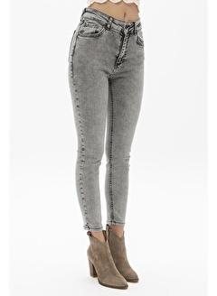 Female Project Gri Yüksek Bel Skinny Jeans